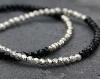 Black Spinel Silver Pyrite stacking Bracelet