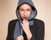 Hooded Cowl in Slate Wool and Cashmere with Cotton Lining : Womens Hats, Hood, Cowl