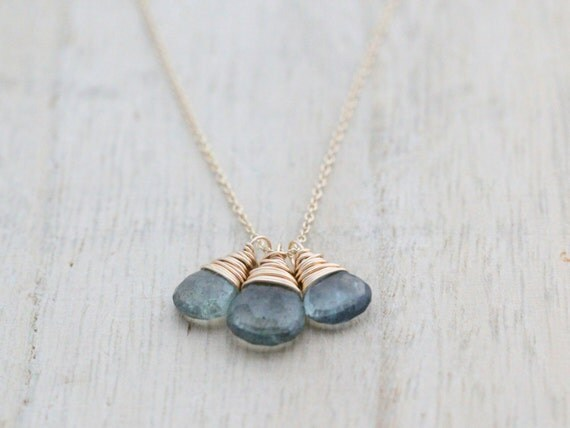 Moss Aquamarine Necklace, March Birthstone Trio Drop Charm Necklace In 14K Gold Filled, Blue Fashion