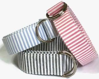 """Mens Seersucker Belt D-ring Belt Nantucket Red, Blue, Gray, or Green Seersucker Belt , Preppy Men's Belt Pant waist 26"""" to 36"""""""