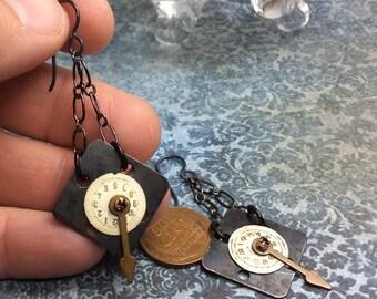 Steampunk handmade earrings vintage watch faces -  Mechanical Romance Line