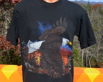 90s vintage t-shirt BALD EAGLE raptor bird fierce native biker nature black tee shirt Large Medium rainbow