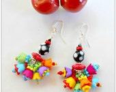Black and White Polka Dot - Multi Flower Earrings - Cha Cha Earrings - Flower Earrings - Beaded Earrings - Whimsical Earrings - Cherry Chick
