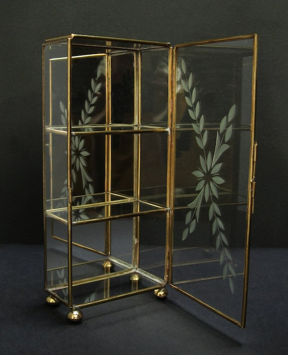 Etched brass glass mirrored curio w shelves display by for Mirrored box shelves