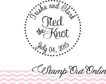 Large custom Tied the Knot rubber stamp 3x3 with a clear block