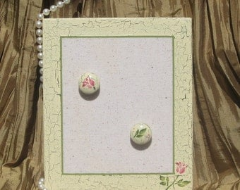 Memory Memo Bulletin Note Message Board and Push Pins Wedding or Shower Favor Victorian Country Shabby Floral Distressed Chipped Paint