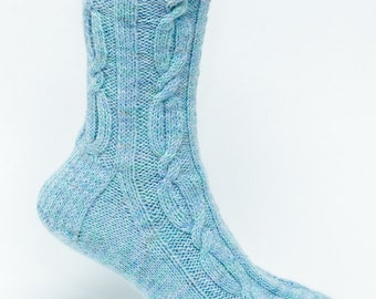 PATTERN ONLY Long Cable Chain with Rib Sock Pattern