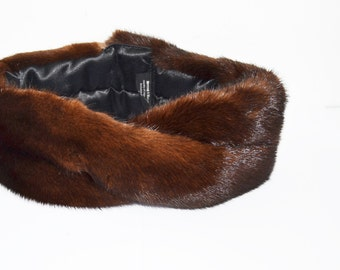 Mink  turban -Mink fur  headband- Mahogany mink turban -luxury Gift