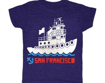 KIDS San Francisco Tugboat - Tshirt Nautical Ship Boat SF California West Coast Bay Area T-shirt Boy Girl Toddler Youth Children Tee Shirt