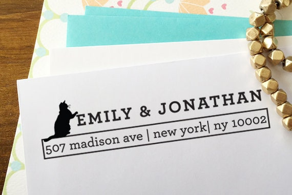 """CUSTOM self inking address STAMP with proof, Eco Friendly self inking custom address stamp, personalized stamper from USA """"Cat Lover"""""""