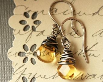 Citrine Sterling Earrings Citrine Dangle Earrings Wire Wrapped Golden Drop Earrings