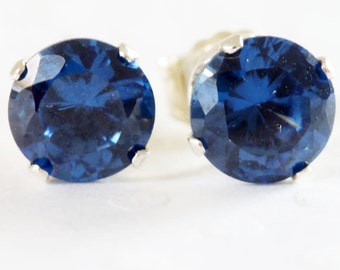 Sapphire Stud Earrings  6mm - Sterling Silver with Sapphire Gemstones  September Birthstone