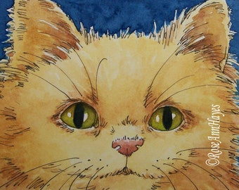 Original Watercolor Painting Persian Kitten Cat 2 ACEO