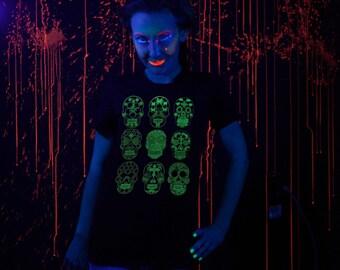 Glow in the Dark Sugar Skull Dia de los Muertos Screenprint Ladies T-shirt S M L XL Day of the Dead