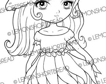 Digital Stamp Toadstool Hat Fairy, Digi Download Mushroom Pixie, Cute Fantasy, Summer Autumn, Coloring Page, Clip Art, Scrapbooking Supplies
