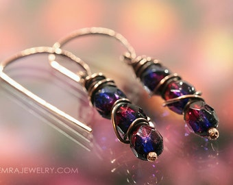 Copper Wire Wrap Earrings - Handcrafted Copper Earrings with Sparkling Faceted Garnet/Purple Colored Czech Glass Beads. Hammered Hooks.