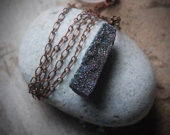 Druzy Necklace, Pendant, chain, holiday sparkle, large statement jewelry