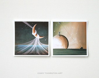 Seafarer Series Mini Print Set- 'When The Wind Blows' & 'A Solar System' - Signed