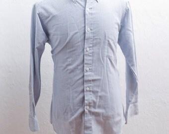 Men's Dress Shirt / Vintage Striped Blue Oxford / Size 16- 32 /33