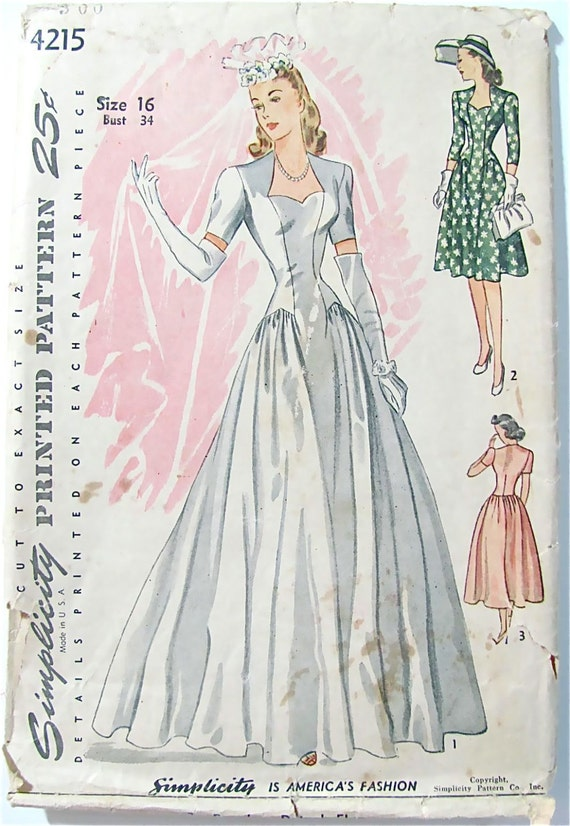Wedding dress pattern simplicity 4215 vintage 1940s by for 1940s wedding dress patterns