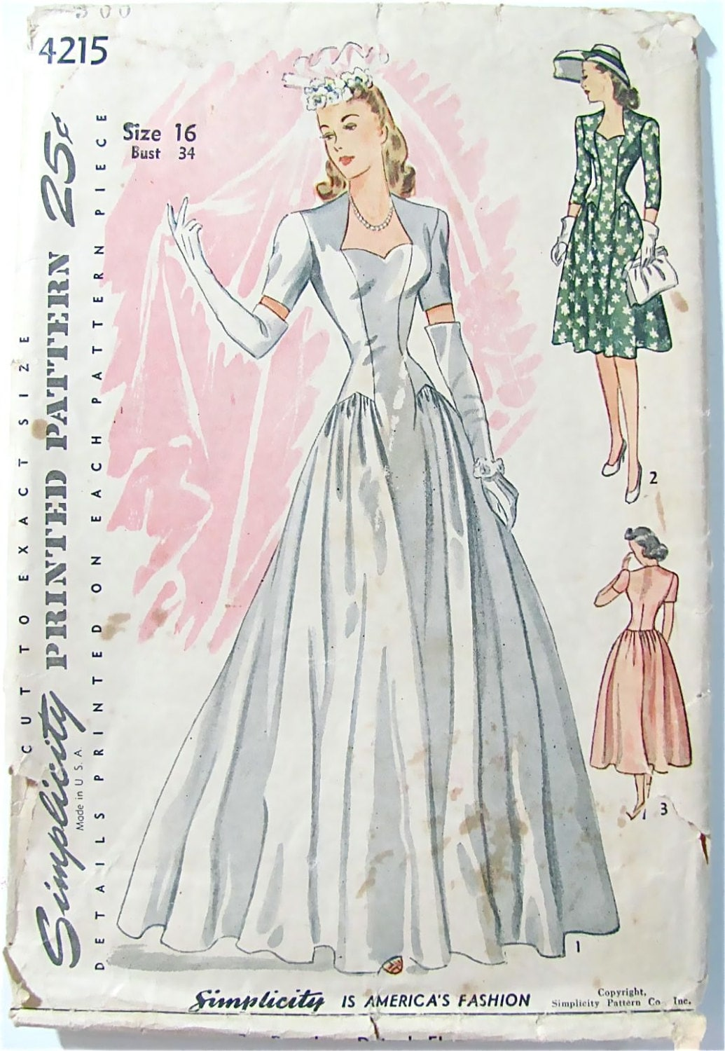 Wedding gown pattern simplicity 4215 vintage 1940s by for Wedding dress patterns vintage