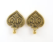 Antique Gold Ornate Earring Post Finding, Tribal Carved Detailed Moroccan Earring Top Jewelry Component |Q1-8|2