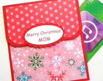Mom Christmas Gift Card Holder - Merry Christmas Mom Card - Mother Christmas Gift Card Holder