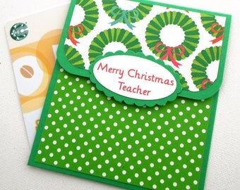 Teacher Christmas Gift Card Holder -  Merry Christmas Teacher - Teacher Gift Card Holder, Teacher Christmas Cards, Teacher Gift Ideas