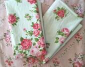 Vintage Bedding Flat Sheet Pair Pillowcases Floral Linens