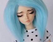 "MSD BJD wig 7"" Hand colored Blue Bubblegum Short fake fur wig MonstroDesigns"