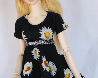 SD BJD Feeple60 clothes Sunflower skater dress by MonstroDesigns