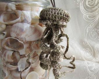 Desert Fatigue Man O War Beige Sand Crochet Jellyfish Keychain Plush Animal