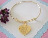 Gold Leaf Bangle, Real Leaf Bracelet, Gold Aspen, Gold Brass, Leaf Bangle, Bracelet, Bridesmaid Gift, Gift, Aspen