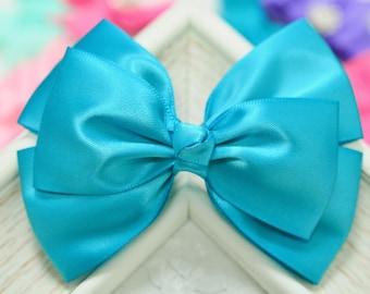 NEW! Set of 2pcs handmade Satin Bows--vivid turquoise (GR1135)