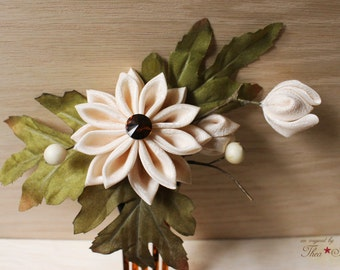Rustic Woodland Bride Formal Bridal Kanzashi Flower Hair Pin