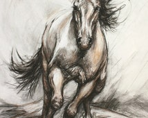 Horse Decor-Charcoal Horse Drawing-Equine Illustration-'Galloping Steed'