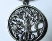 WICCA Pagan Celtic Tree of Life Pewter PENDANT / AMULET with black necklace cord