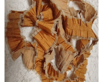 SALE - All Hand Made AuTUMN GoLD SiLK & NeT Handmade PLEATED RIBBON TrIM - Wonderful Workmanship - Unusual and rare - 3 Continuous Yards