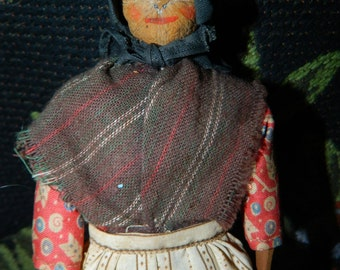 "1950's Bob Burns Radio Show Character Doll, ""Aunt Boo"" Ozark Hillbillies, Ozark Mountain Entertainer, Mrs. Smith Hand Carved, Hickory"