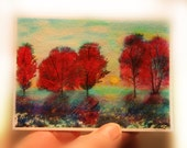 Early snow, winter greets autumn, aceo original, art, miniature art, autumn trees, Michigan art, little gifts, trees, tiny #aceo