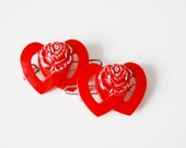 vintage 1930s / red lucite / heart roses hair clips / love / mid century / lucite barettes / hair clips