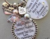 MOTHER of the Groom gift PERSONALIZED mother of the Bride gift,  thank you raising man of my dreams, Today a groom, forever your son, BLUSH