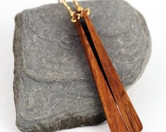 Long Wood Paddle Earrings