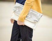 Clutch - Foldover Clutch - White Foldover Clutch Purse - Vegan Leather Clutch - Monogrammed Foldover Clutch - Zippered Clutch