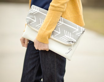 Vegan Leather - Foldover Clutch - White Foldover Clutch Purse - Vegan Leather Clutch - Monogrammed Foldover Clutch - Zippered Clutch
