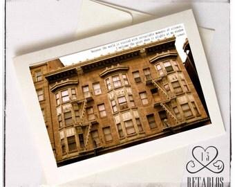 Retablo Photo Greeting Card, Proceeds Benefit Animal Rescue, Blank Inside, Urban Decay Building, San Francisco Vintage Building, Sepia Tones