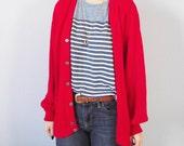 Vintage Cardigan Sweater - The Fox JC Penney - Boyfriend Sweater - Lipstick Red - Medium