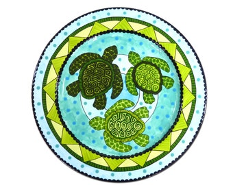 Hand painted Turtle Mandala 13 inch Platter
