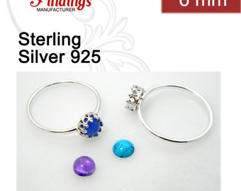 6mm Sterling Silver 925 Bezel Cup on Ring for  Flat Back Setting .Select Your Ring Size. (R9377SH)