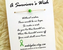 A Survivor's Wish. The Wish Bracelet for Lymphoma Cancer Awareness. Lime Green Ribbon Edition.